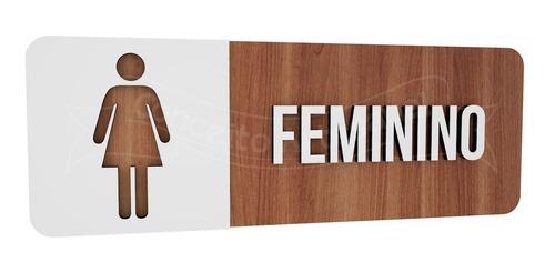 placa indicativa sinalização banheiro feminino retangular
