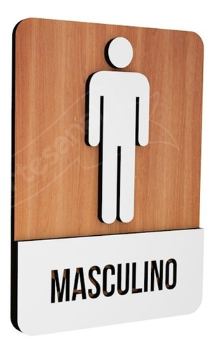 placa indicativa sinalização banheiro masculino mdf