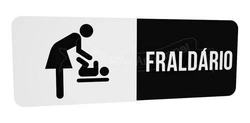 placa indicativa sinalização preta banheiro fraldário lounge