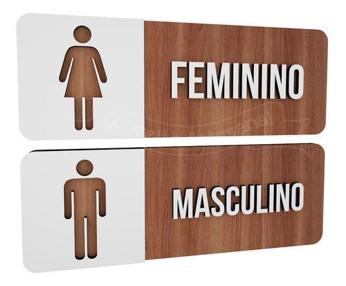 placa indicativa sinalização toalete feminino e masculino