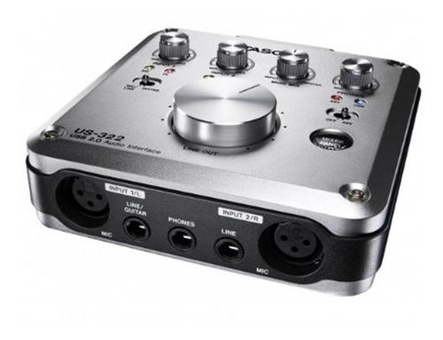 placa interface de audio tascam us-322 usb c/ dsp mixer