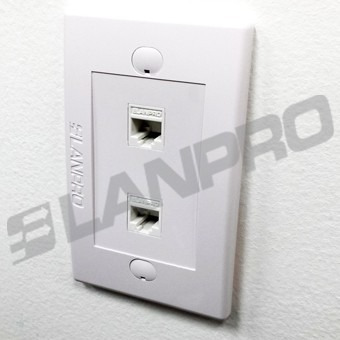 placa lanpro lp-3317v2wh frontal 4x2 vertical 2 puertos