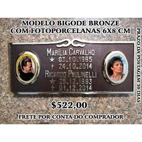 Placa Lápide Bronze Fotoporcelana 6x8 Cm 02 Molduras Lisa