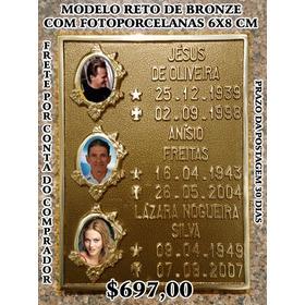 Placa Lápide Bronze Fotoporcelana 6x8 Cm 03 Molduras Florida
