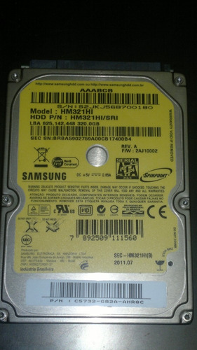 placa logica hd 320 gb hm321hl -firmware 2aj10002 - cod 77a