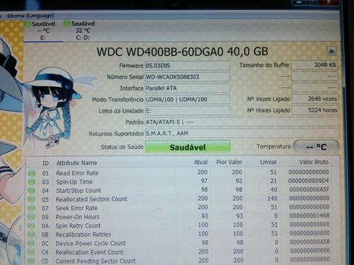 placa logica hd 40 gb wd400bb-60dga0 - cod. 289b