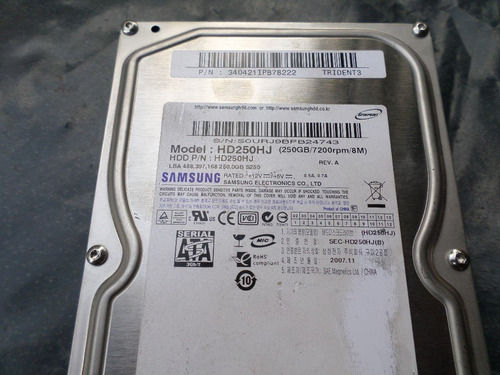 placa logica hd samsung hd250hj - 250 gb