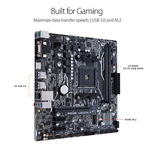 placa madre asus a320 amd ryzen am4 ddr4 hdmi vga m2 microat