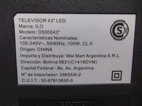 placa main tv led ilo mod. d500043  smart