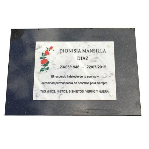 placa marmol, funeraria, cementerio,panteon, lapida 30x20cm.