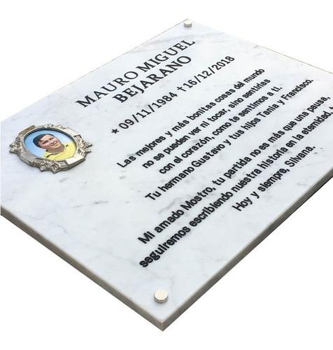 placa marmol grabada 70x60cm. para cementerio + foto 14x10