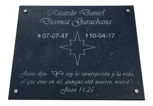 placa mármol grabado recordatorio, aniversarios 30x20cm
