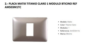 Placa 3 m/ódulos titanio claro Legrand//Bticino