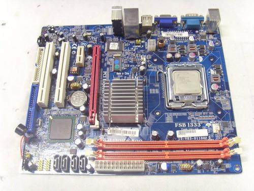 placa mãe intel lga775 ddr2 g31t-m7 ecs+processador celeron