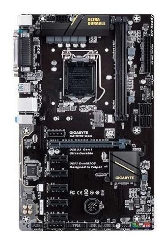 placa mãe mineração gigabyte h110 d3a ddr4 1151 6x gpu 6ªge