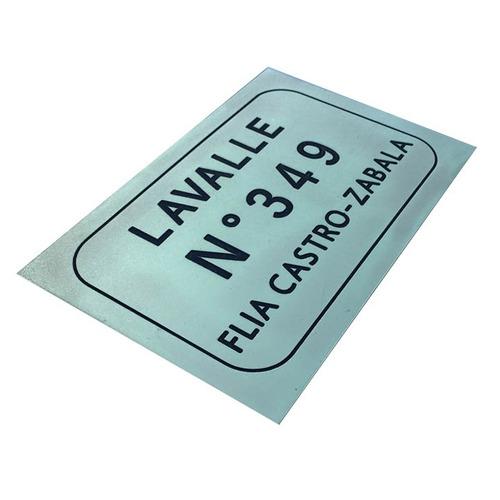 placa metal número frente de casa dirección apellido
