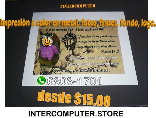 placa metalica completamente a color, imprimible con foto, l