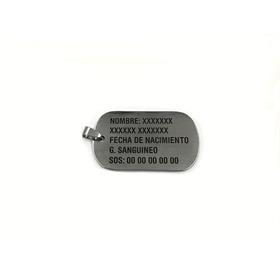Placa Militar Identificacion Con Grabado Láser Gratis, Cadena Bolitas De Regalo, Tipo Dogtag