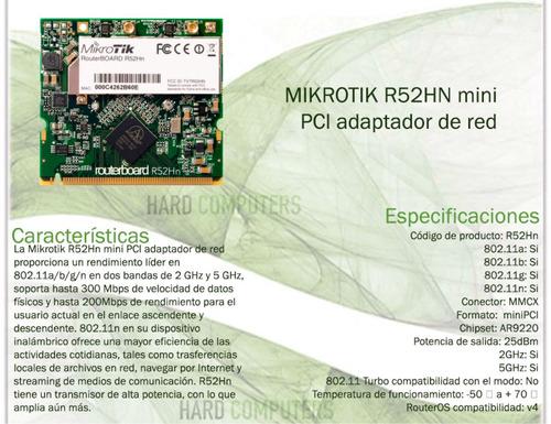 placa minipci mikrotik r52hn routerboard network