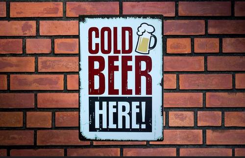 placa o poster decorativo metal ms#42 29x20 cms cerveza fria