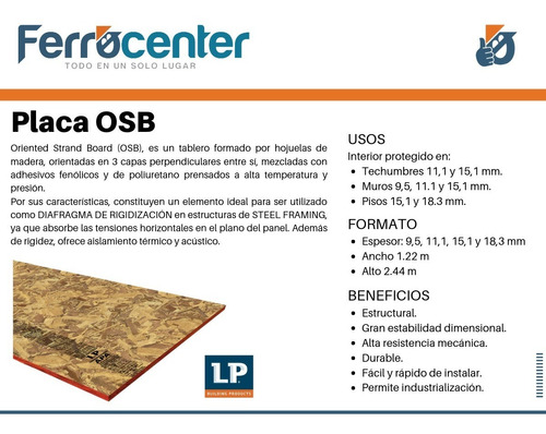 placa osb lp brasil 9,5mm -1,22 x 2,44 m- steel frame cuotas