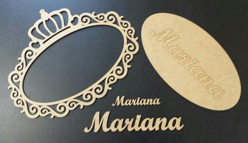 placa oval porta maternidade 30 cm mdf cru + 2 nomes