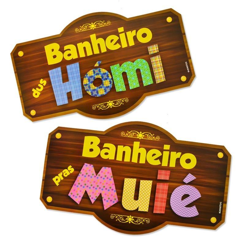 Placa Para Banheiro Festa Junina  Homi E Muié  R$ 10,00 em Mercado Livre -> Etiqueta Banheiro Feminino