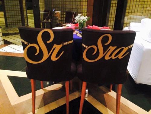 placa para cadeira dos noivos em mdf linda decoração