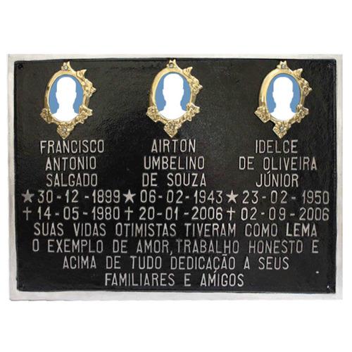placa para cemitério de alumínio com 3 fotos e mensagem