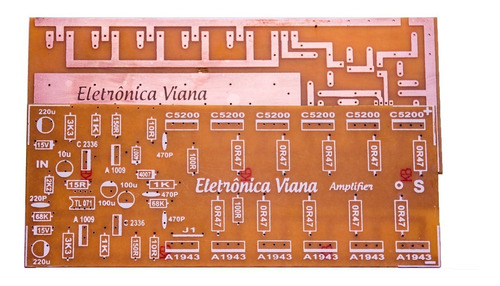 placa para montar amplificador 1000w rms com c5200 e a1943
