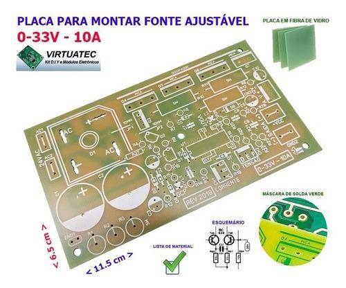 placa para montar fonte ajustável 0-33v por 10a - fibra