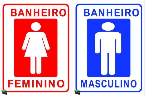 Placa Personalizada De Banheiro  Sinalização Imóveis (par)  R$ 14,99 em Mer # Sinalizacao Banheiro Feminino E Masculino