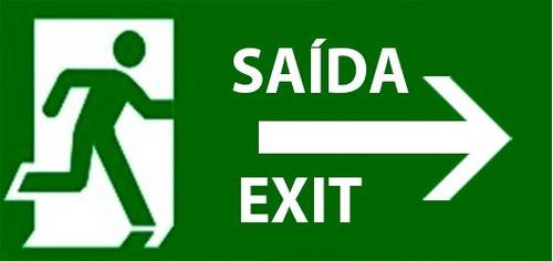 placa porta saída exit cor verde seta direita multiusos