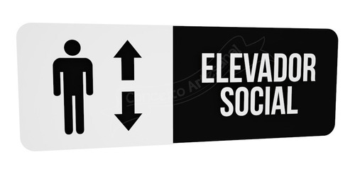 placa preta elevador social hotel consultório restaurante