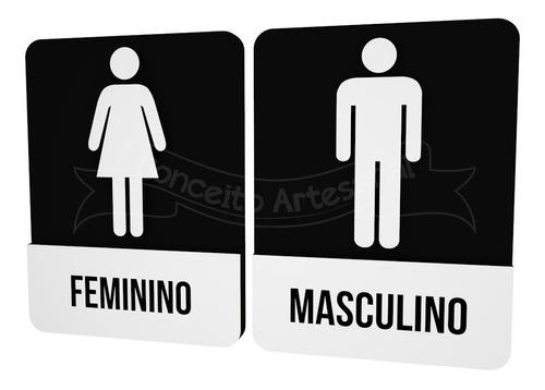 placa preta informativa banheiro masc/fem restaurante hotel