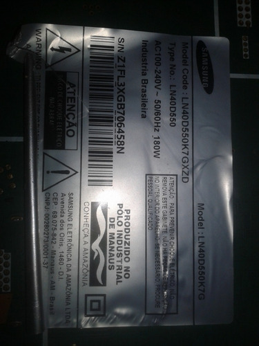 placa principal ln40d550k