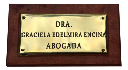 placa profesional para estudios, abogado, medico. 25x15cm.