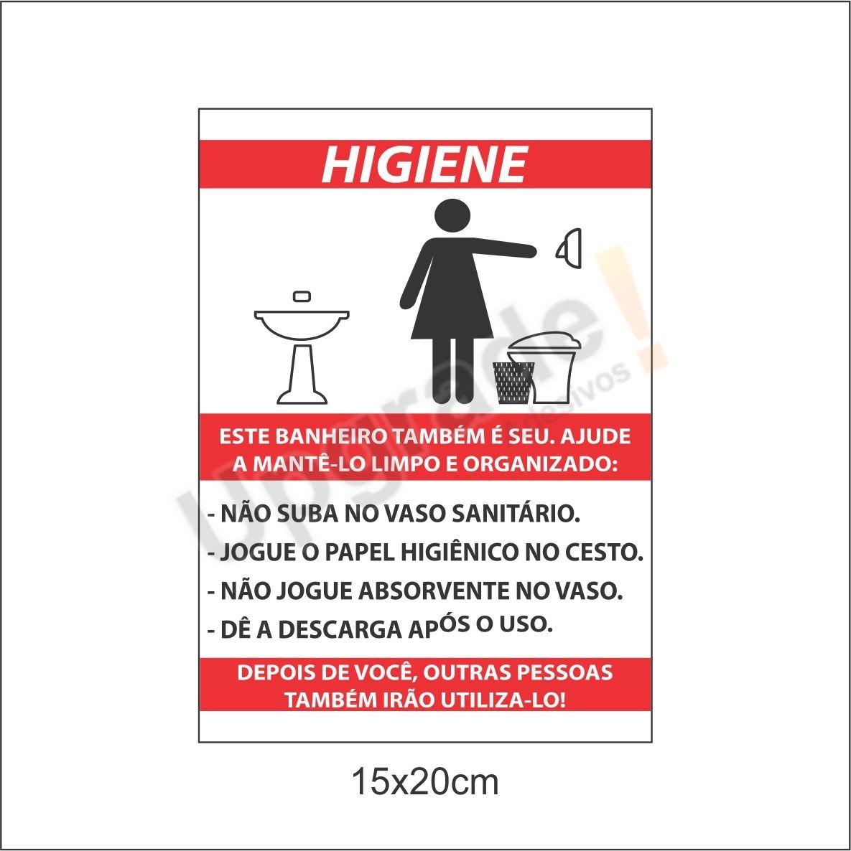 Higiene Para Banheiro : Placa ps pvc higiene banheiro limpeza sinaliza??o