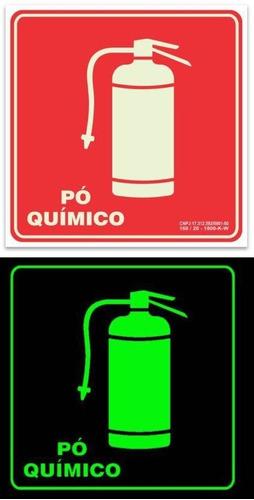 placa pvc fotoluminescente sinalização extintor rota de fuga