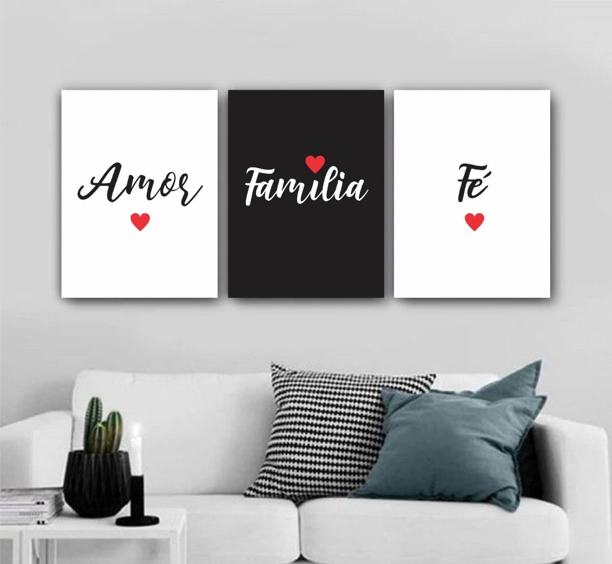Placa Quadro 20x30cm Amor Família Fé Palavras Motivação