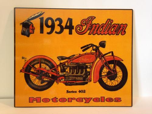 placa - quadro decorativa vintage - moto indian 1934