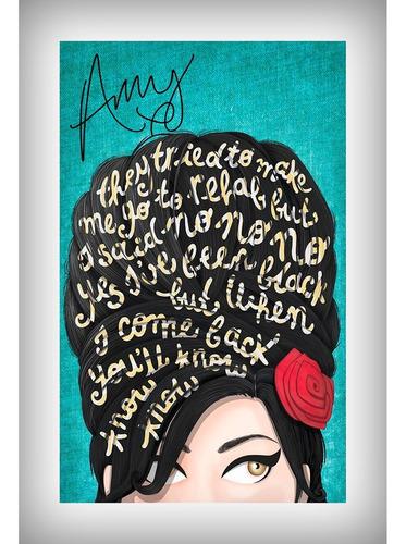 placa quadro decorativo 60x40cm frase rock pop amy winehouse