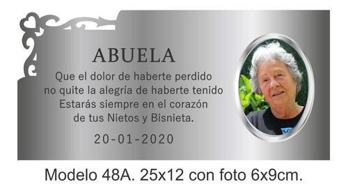 placa recordatoria 25x12cm para fallecido con foto 6x9.