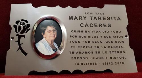 placa recordatoria cementerio 25x15 acero inox con foto