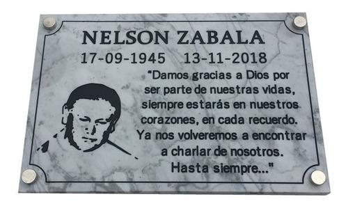 placa recordatoria funeraria, cementerio,nicho, lapida 40x40