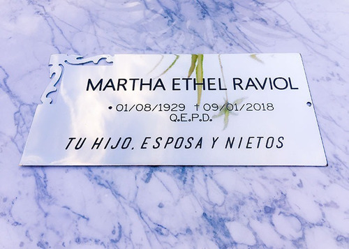 placa recordatoria, homenaje, aniversario. chapa. 25x15cm