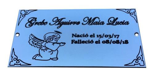 placa recordatoria para cementerio 20x10 + foto color marco