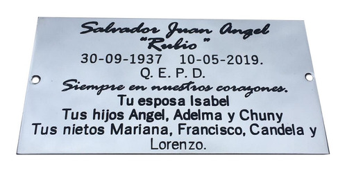 placa recordatoria para cementerio, 20x15cm ideal intemperie