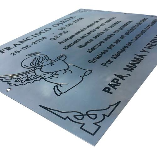 placa recordatoria, para cementerio, metal bronce. 25x20