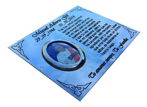placa recordatoria para exterior 25x15cm con foto 6x9.